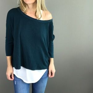 Chaser teal blue waffle style slouchy top